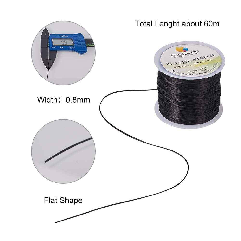 PandaHall Elite 10 Rolls 0.8mm Elastic Stretch Polyester Threads Beading String Cord 10m per Roll 10 Colors for Bracelets Necklace Jewelry Making