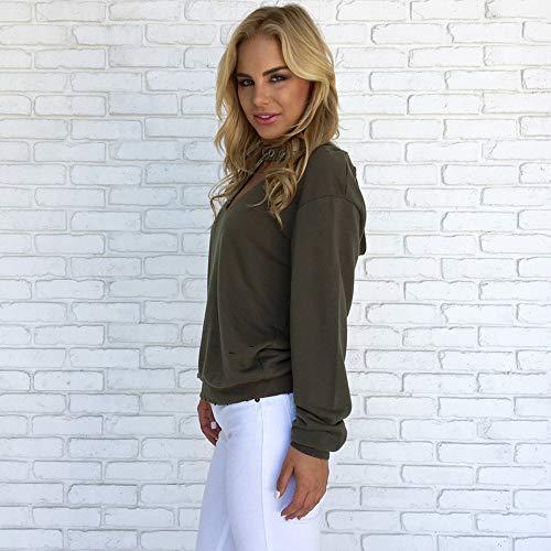 A Pullover Cima Lunga V Needra In Militare Donne Felpa Manica Con Camicia Solido Con Camicetta Scollo Cappuccio Verde S6xvw0qx