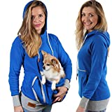 Roodie Pet Pouch Hoodie - Small Cat Dog Carrier Holder Sweatshirt - Womens Fit Kangaroo Pullover Without Ears and Paws - Blue with Gray Trim - 2XL