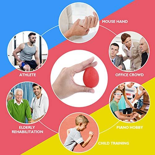 Peradix 3 Piezas Anti estrés Bolas, Fortalecedores de Mano, Pelota de Agarre - Huevo para Ejercicios y Rehabilitación Fortalecimiento de Manos y Dedos (3 Niveles de Resistencia)