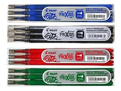 Kit di ricarica 4 per per 3 pezzi in blu Pilot FriXion punto rullo inchiostrato rosso verde nero