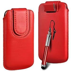 N4U Online Premium PU tirón del cuero del tirón del caso Tab cubierta de bolsa con correa de cierre magnético y Retractable Stylus Pen Para HTC de Windows Phone 8S - Rojo