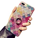 J.west iPhone 7 Plus 8 Plus Case, Soft Slim Glitter Shiny Anti-Scratch Shock Proof Flexible TPU Rubber Protective Phone Cover Case with Ring Stand Holder for iPhone 7 Plus/8 Plus -Pink Mermaid Scale