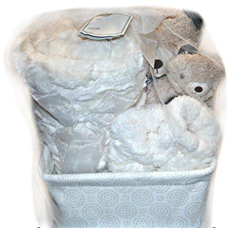Kyle & Deena 5pcs Gift Set - Blanket, Basket, Teddy Bear Toy, Rattle, (Ivory Teddy Bear)