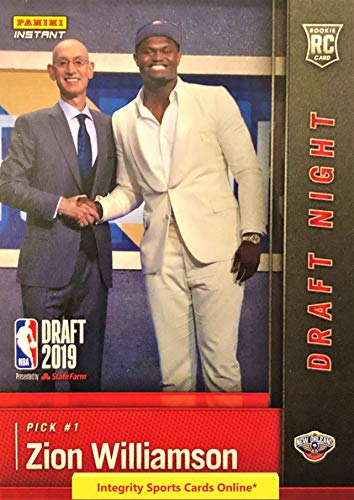 2019-20 Panini Instant Draft Night ZION WILLIAMSON First Rookie Card RC New Orleans Pelicans 1 of 17281 Produced Official Basketball Trading Card in Sealed Top Loader from Instant