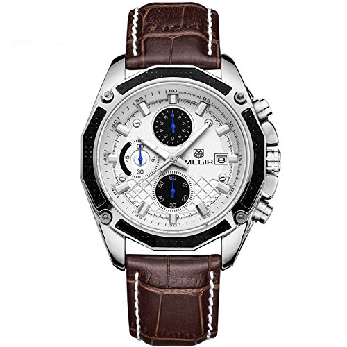 Army Analog Chronograph Luminous Leather Sport Quartz Wrist Watches for men Calendar Date Brown