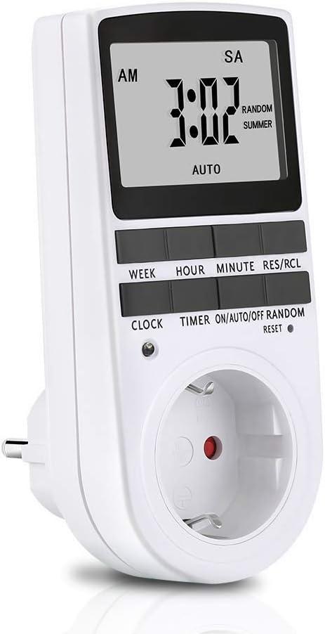 Temporizador Digital,Temporizador Digital Programable con Pantalla LCD 12/24 Horas 7 Días Programador Diario/Semanal para Aparatos Electrodomésticos, Tableta, Lámpara de Mesa, Calentador Agua