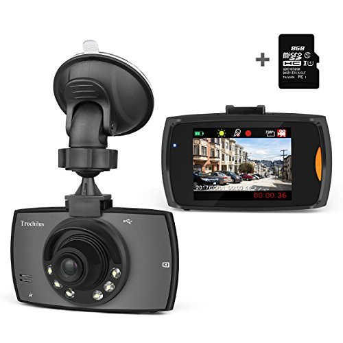 "Trochilus Dash Cam Full 2.4 ""Screen HD 720P with IR night vision lights ,120°Wide Angle Lens Car DVR Camera,with Loop Recording,8 GB micro SD card included"