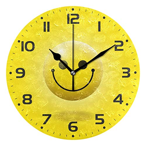 Naanle Yellow Realistic Emoticon Smiley Face 3D Emoji Round/Square/Diamond Acrylic Wall Clock Oil Painting Home Office School Decorative Creative Dual Use Clock Art ()