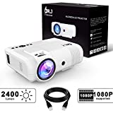 DR.J 2400Lumens Mini Projector Max. 170'' Display, Full HD LCD Projector Compatible with HDMI/VGA/USB/TF/AV/Sound Bar/PS4/WII/XBOX/TV/FireTV Stick/TV BOX/Laptop [3 Years Warranty] (L8 Projector)
