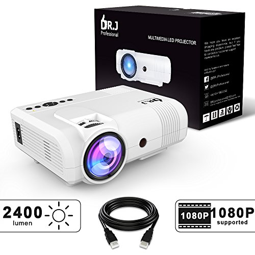 "DR.J 2400Lumens Mini Projector Max. 170"" Display, Full HD LCD Projector Compatible with HDMI/VGA/USB/TF/AV/Sound Bar/PS4/WII/XBOX/TV/FireTV Stick/TV BOX/Laptop [3 Years Warranty]"
