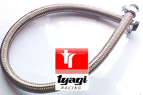 60 centimeter Tyagi Racing 6mm internal Diameter Stainless Steel Braided Nitrile Rubber Fuel Hose With End Finishers /& Clips Length