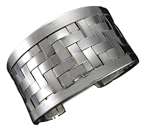 9c3cf90fed2 Amazon.com: Anju Silver-Plated Basket Weave Cuff Bracelet: Jewelry