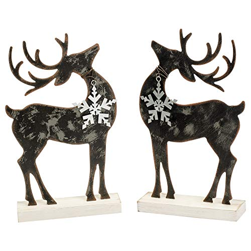 (Transpac Imports, Inc. Standing Reindeer Black 12 x 7 Tin Christmas Holiday Figurines Set of 2)