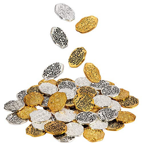 60 Pieces Metal Pirate Coins Spanish Doubloon Replicas Pirate Treasure Coin Toys for Party Favor Decorations, Gold, Silver, Antique Gold and Antique Silver