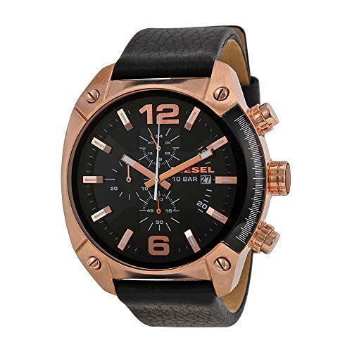 Watch Diesel Chronograph (Diesel Men's DZ4297 Overflow Rose Gold Black Leather Watch)