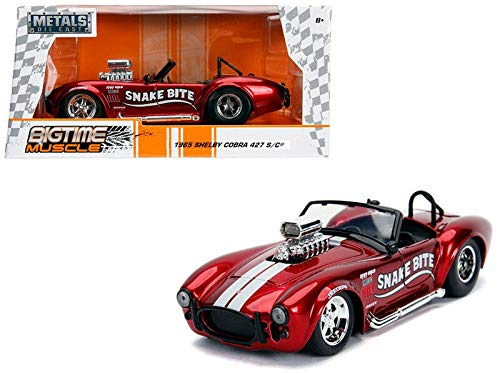 New DIECAST Toys CAR JADA 1:24 W/B - Metals - Bigtime Muscle - 1965 Shelby Cobra 427 S/C with Blower (Candy RED) 30705 (Bigtime Muscle Cars)
