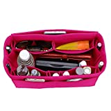 Felt Purse Organizer, Bag in Bag Organizer For Tote & Handbag, Speedy, Neverfull, Medium Large Extra Large (Large, Rose)