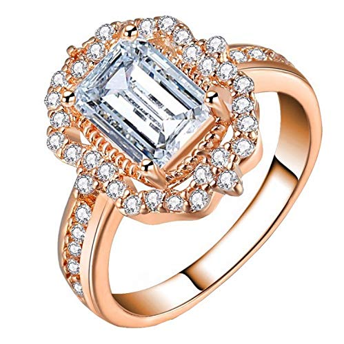(Beppter Lady Rings-Halo Diamonds Vintage Ring-Cubic Zirconia Rhodium Plated Party Solitaire Jewelry Gift Size6 7 8 9 10(Gold,8))