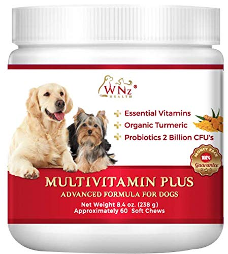 - WetNozeHealth Vitamins for Dogs - Canine Multivitamin Supplement with Organic Turmeric and Probiotics for Large and Small Dogs, Chicken Flavor - 60 Soft Chews