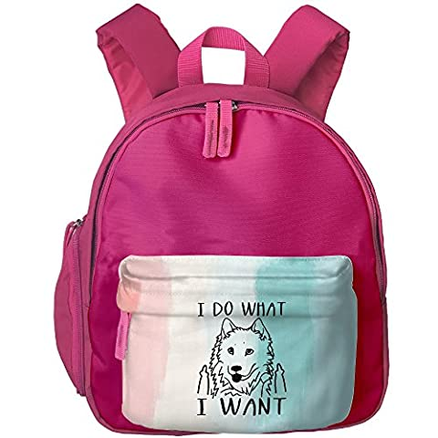 I Do What I Want Samoyed Kid's Shoulder Backpack School Bag For Teens Boys Girls Students Pink (Violin Size 1 2 Oxford)
