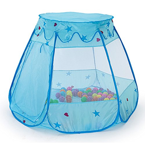 Portable Folding Children's Game Play Toys Ball Pit Outdoor Indoor six-sided Tent House , Tent for Girls Boys Zipper Storage Tote Bag , Ocean Ball Not Included(blue)