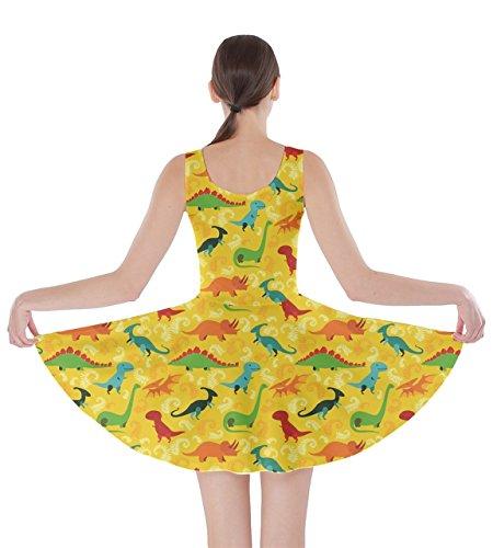 fb3899e2640a CowCow Womens Tyrannosaurus Triceratops Rex Dinosaur Jurassic World Skater  Dress, XS-5XL