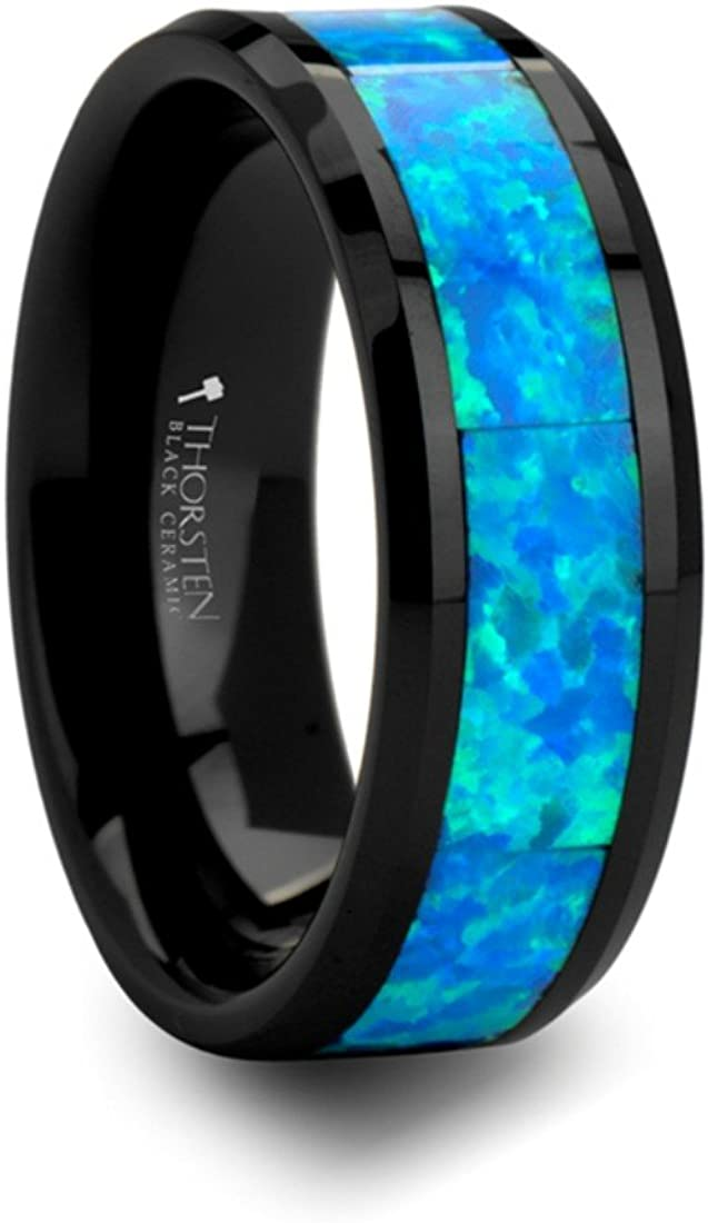 Thorsten Quantum Blue /& Green Opal Inlaid Black Ceramic Ring 8mm Wide Wedding Band from Roy Rose Jewelry