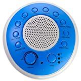 SONEic - Sleep, Relax and Focus Sound Machine. 10 Soothing White Noise and Natural Sound Tracks, with Timer Option. Crystal Clear Quality Sound Speaker & Headphone Jack. USB or Battery Powered - Blue