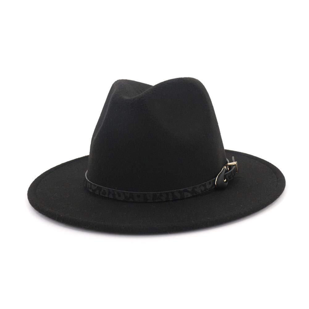 333df85d71b3 Vim Tree Womens Wide Brim Felt Fedora Hat Ladies Panama Hat with Belt  Buckle Black at Amazon Women's Clothing store