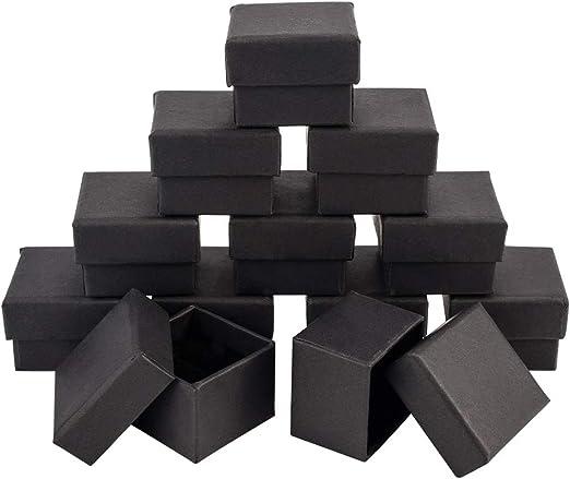 NBEADS Caja de Joyería, Caja de Regalo Cuadrada de Cartón de 20 Pc con Esponja Negra, Negro, 4.5X4.5X3 Cm: Amazon.es: Hogar