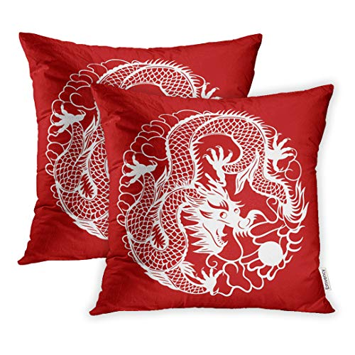 Emvency Set of 2 Throw Pillow Cover Cushion Case Decorative 18 x18 Inch Red Astrology Chinese New Year Spring Festival Dragon Sign for Good Luck Asian Pillowcase Two Sides Print -