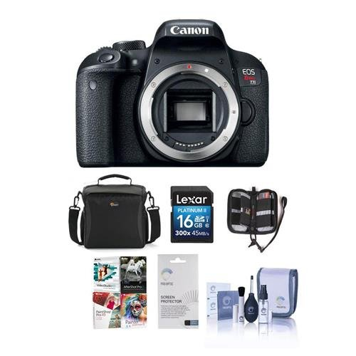 Canon EOS Rebel T7i DSLR Camera Body – Bundle With Camera Case, 16GB SDHC Card, Screen Protector, Cleaning Kit, Memory Wallet, Software Package For Sale