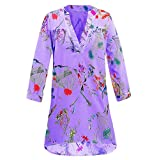 Malbaba Floral Printed Blouse,Womens Henley Button Up Shirt Ladies Casual 3/4 Sleeve Tops T Shirt Plus Size