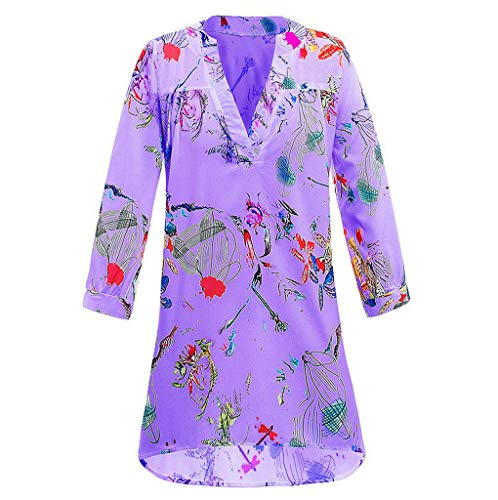Shirt Blouse Ladies Casual 3/4 Sleeve Tops T Shirt Plus Size ()