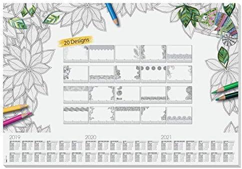calendarios trianuales Sigel HO540 Vade blanco y negro 20 hojas bloc de notas 20 dise/ños diferentes para colorear 59,5 x 41 cm