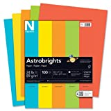 Wausau Astrobrights Premium Assorted Colored Paper #20199, 100 Count 8.5in x 11in Lunar Blue,Terra Green, Cosmic Orange, Solar Yellow, Rocket Red.