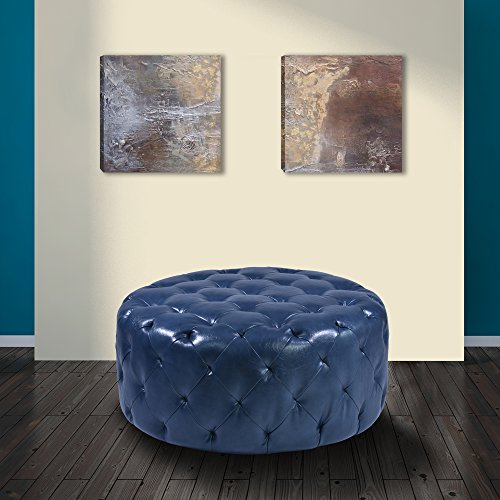 Armen Living LC5005OTOC Victoria Ottoman in Blue Bonded Leather and Black Wood Finish