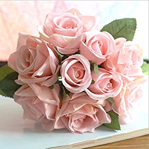 XGM GOU 9Pc/Bunch Rose Flowers Bouquet Artificial Flowers Bridal Shower Marriage Room Wedding Decoration DIY Fake Silk Flower Home Decor 42