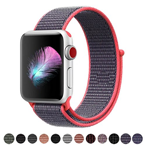 HILIMNY Compatible for Apple Watch Band 38mm, New Nylon Sport Loop, with Hook and Loop Fastener, Adjustable Closure Wrist Strap, Replacement Band Compatible for iwatch, 38mm, Electric Pink
