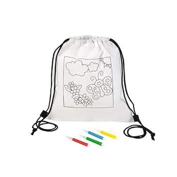 Fun Fan Line® - Set de 30 Mochilas Infantiles para Colorear. Ideal para Regalos y Fiestas de Cumpleaños Infantiles. ¡con rotuladores de Colores de Regalo!: