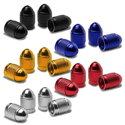 Chrome Bullet Cap - Bullet Style Polished Aluminum Silver Chrome Tire Valve Stem Caps (Pack of 4)