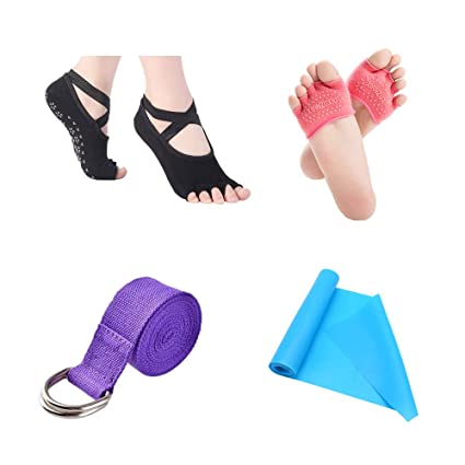 Monz Care 4-Piece Yoga Set, Include 2 Pairs Non Slip Yoga Socks, 1 Stretch Strap and 1 Resistance Band, for Pilates, Barre, Ballet