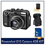 Canon G12 10MP Digital Camera with 5x Optical Image Stabilized Zoom and 2.8 inch Vari-Angle LCD w HD Video Deluxe Bundle With 4 GB Secure Digital High Capacity SDHC Memory Card, Digpro Compact Deluxe Carrying Case, 3 piece Lens Cleaning kit