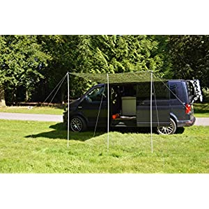 Wild Earth Sun canopy awning for VW Camper Van motorhome 2.4 Metres x 2.4 Metres Camouflage Green 2 Pole Design