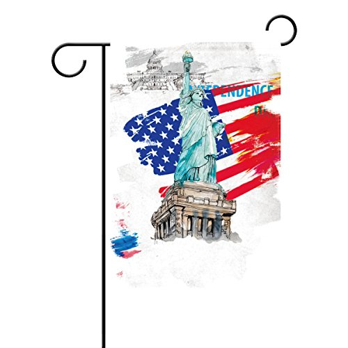 U LIFE USA Liberty Statue Garden Flag Banner for 4th of July Double Side Print Polyester 40 x 28 & 12 x 18 Inch & 3'4'' x 2'4'' & 1' x 1'6'' Colorful