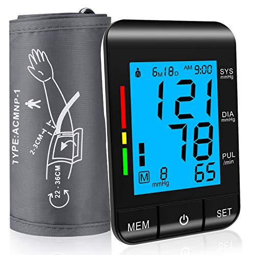 Blood Pressure Monitor Upper Arm With 8.7-14.2 Large Cuff, Automatic Clinical Accurate BP Machine, 2 User 180 Memory with Date & Time,WHO Classification Indication, Irregular Heart Rate Indication