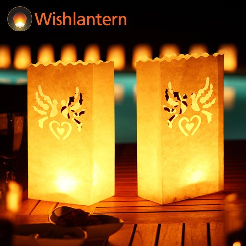 Wishlantern Luminary Candle Bags (Doves Design) - Fire Retardant Paper - Reusable - 5 Pack]()