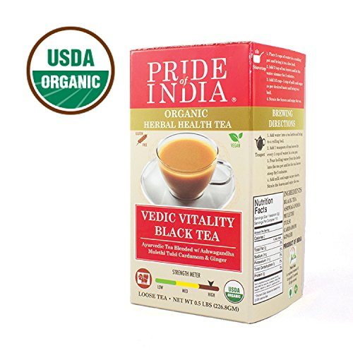 Pride Of India - Organic Indian Black Vedic Tea (Loose Leaf) with Ancient Ayurvedic Vitality Herbs, Half Pound (227gm) - Excellent Flavor - Consume black or make Indian Style Chai w/Milk & Sweetener