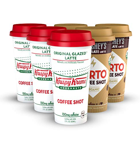 FORTO Coffee Shots - 100mg Caffeine, Krispy Kreme/Hershey's Variety Pack, Ready-to-Drink on the go, High Energy Cold Brew Coffee - Fast Coffee Energy Boost, 6 Pack